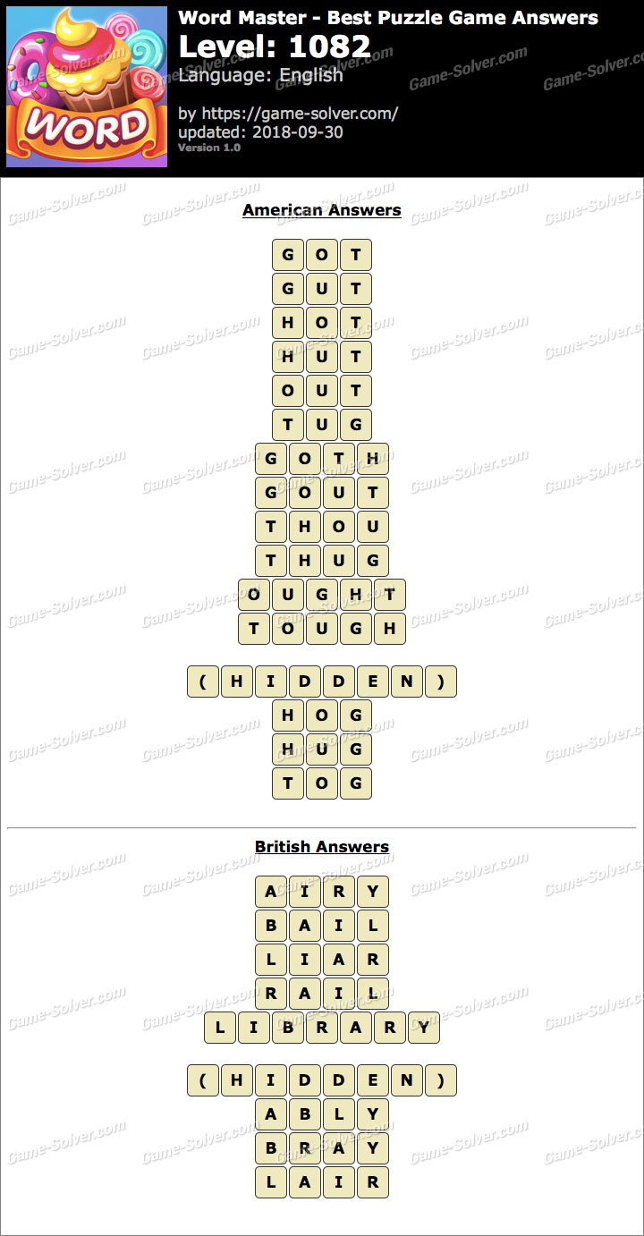 Word Master-Best Puzzle Game Level 1082 Answers