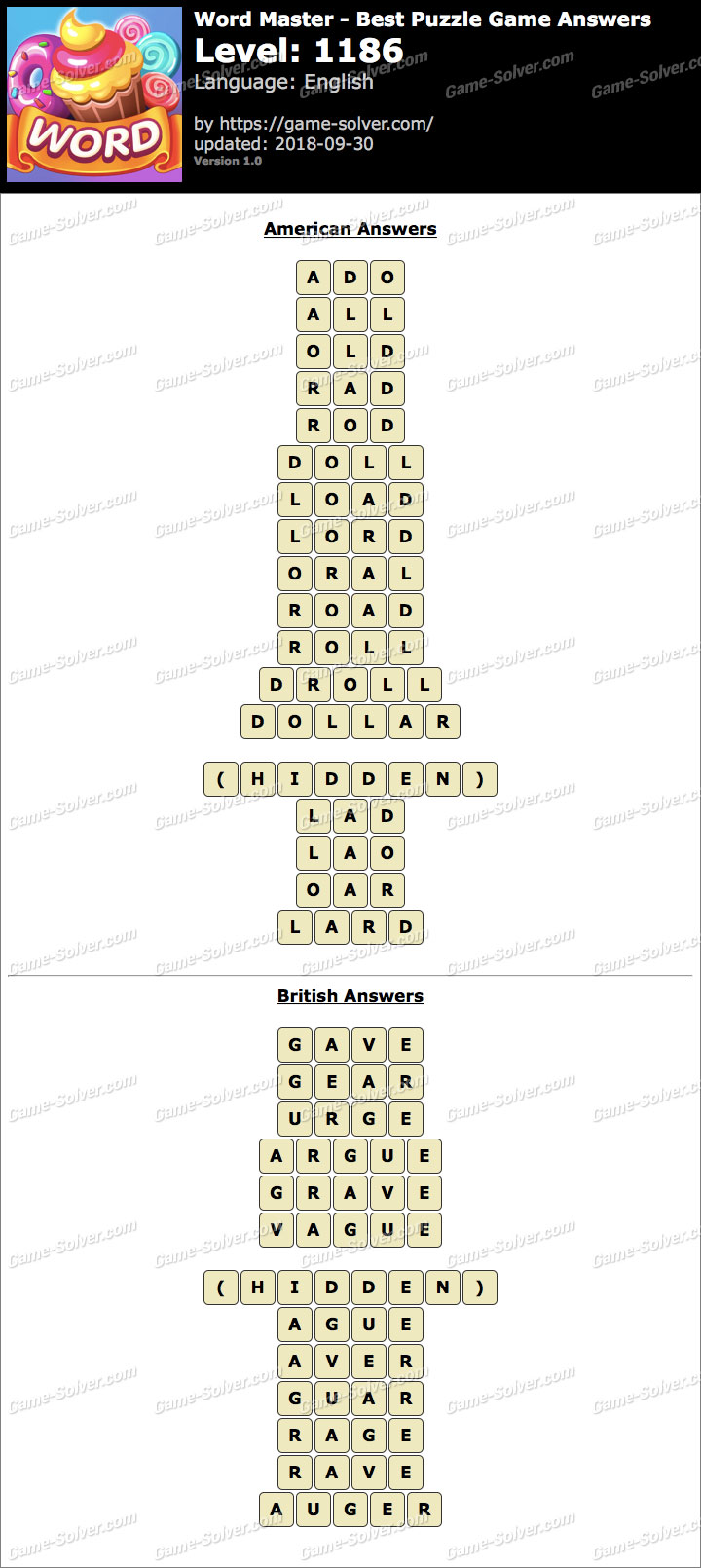 Word Master-Best Puzzle Game Level 1186 Answers