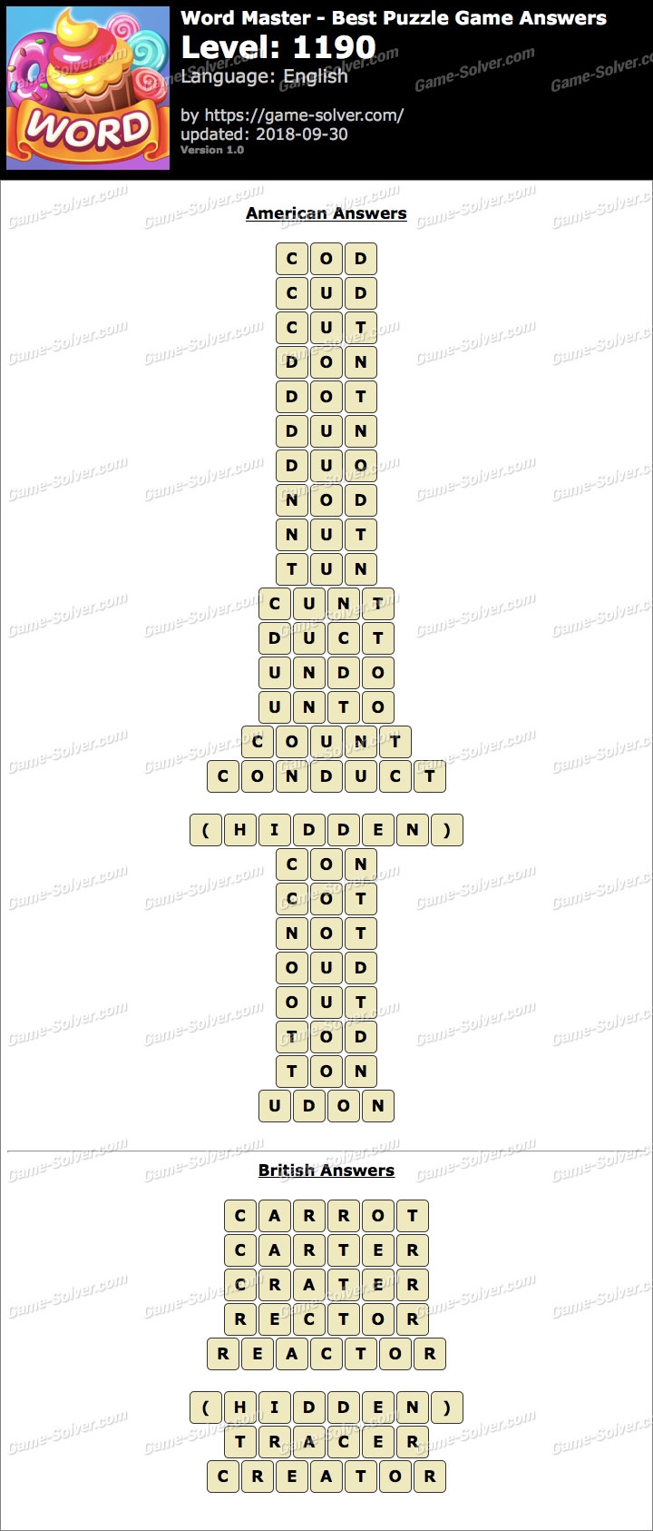 Word Master-Best Puzzle Game Level 1190 Answers