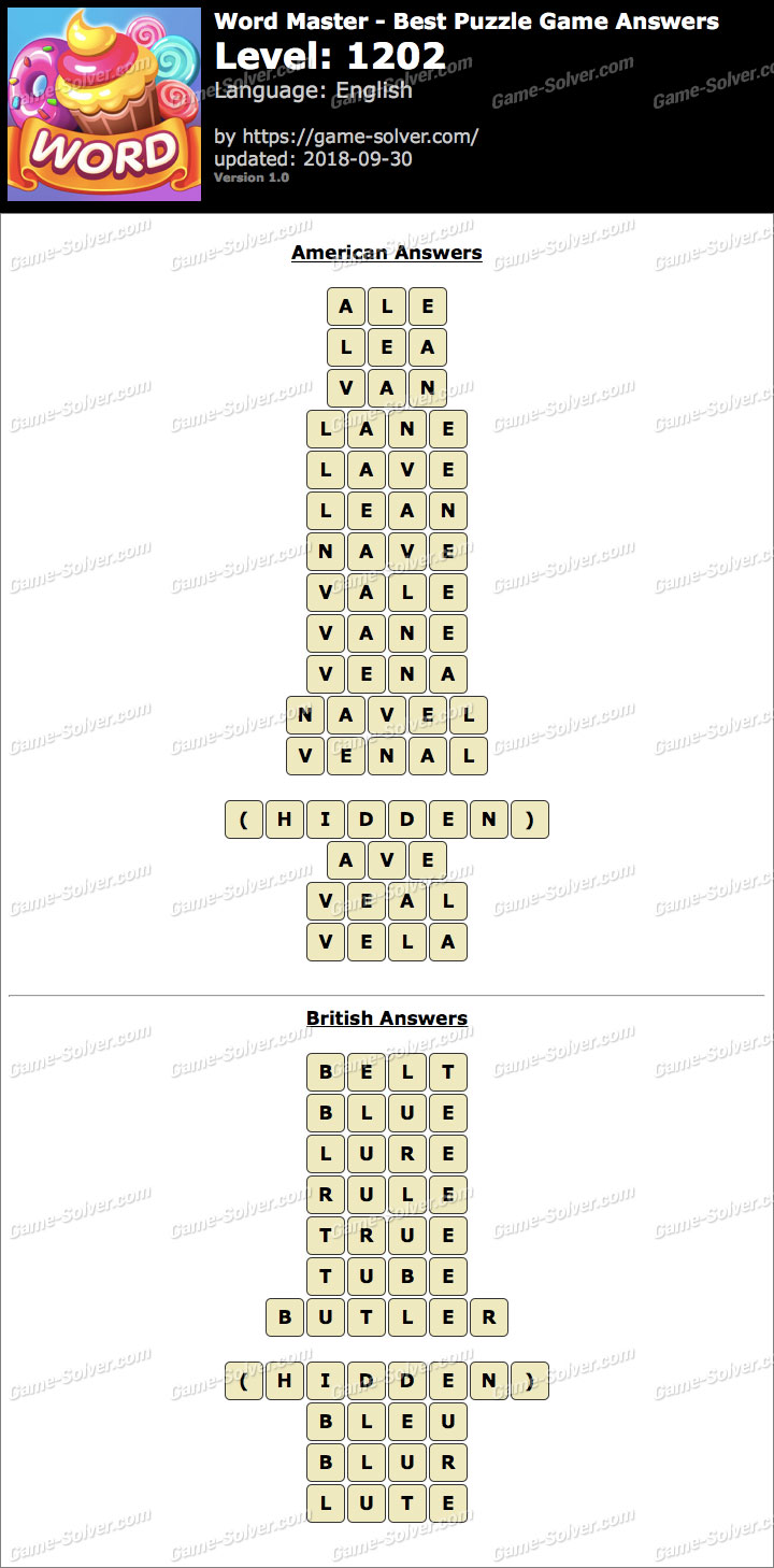 Word Master-Best Puzzle Game Level 1202 Answers