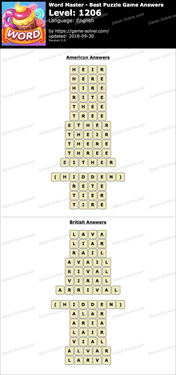 Word Master-Best Puzzle Game Level 1206 Answers