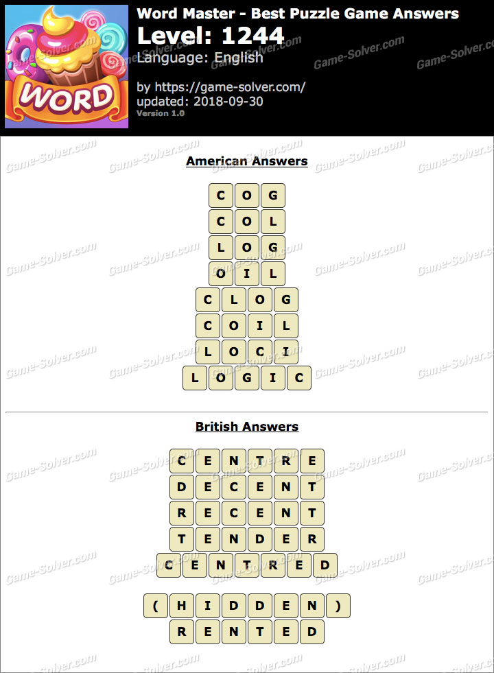 Word Master-Best Puzzle Game Level 1244 Answers