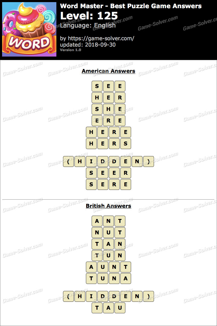 Word Master-Best Puzzle Game Level 125 Answers