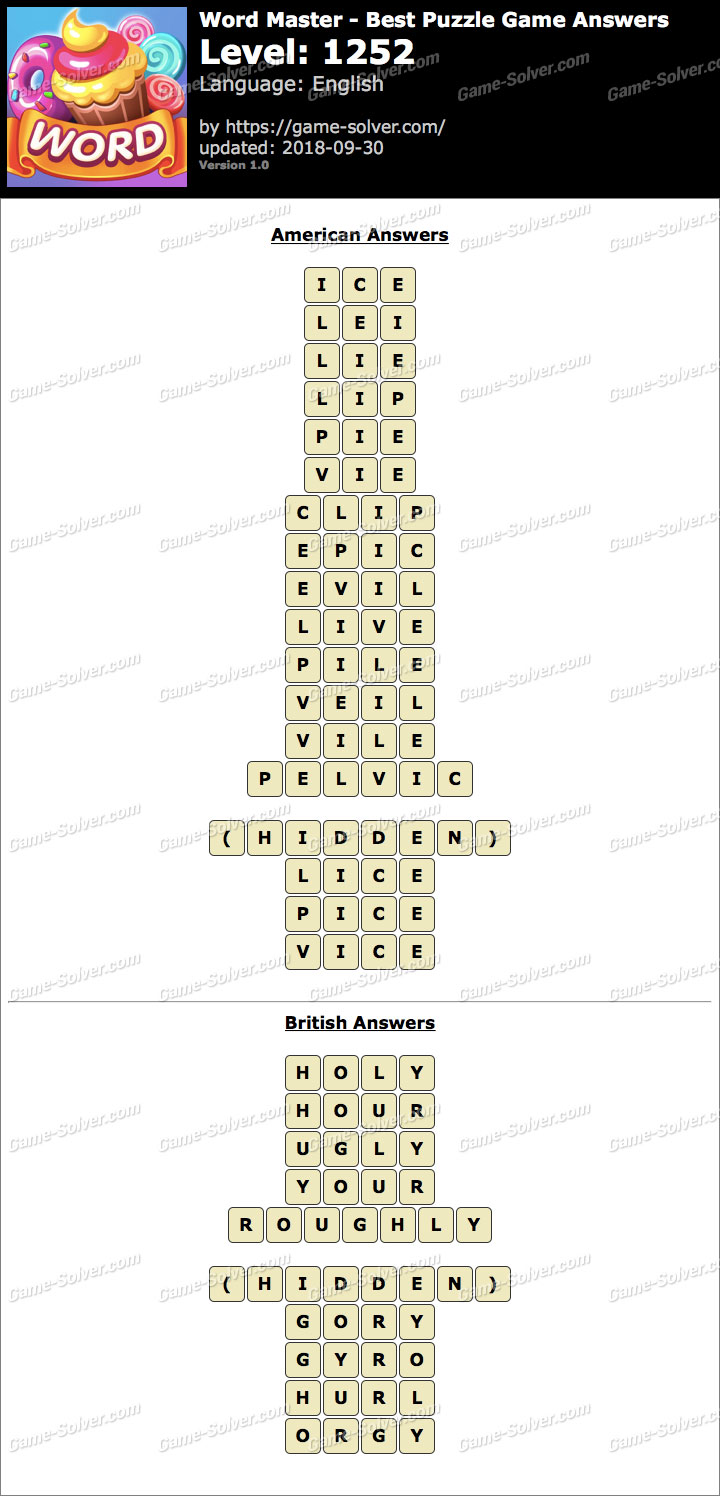 Word Master-Best Puzzle Game Level 1252 Answers