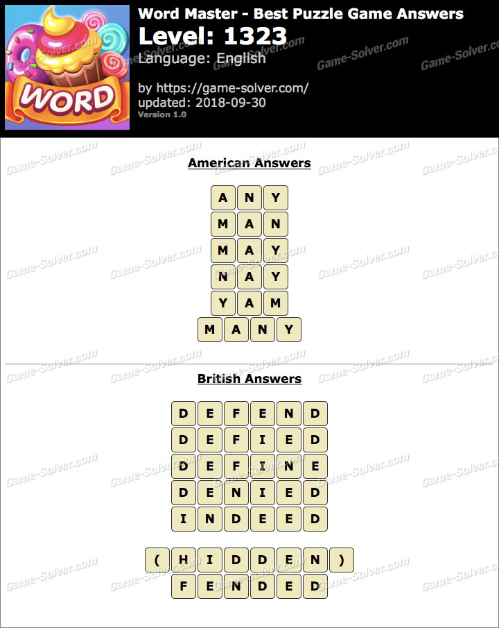 Word Master-Best Puzzle Game Level 1323 Answers