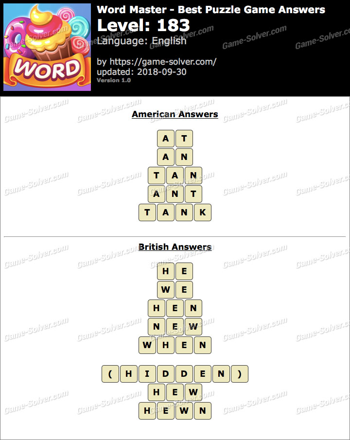 Word Master-Best Puzzle Game Level 183 Answers