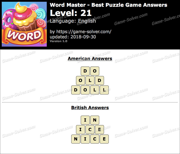 Word Master-Best Puzzle Game Level 21 Answers