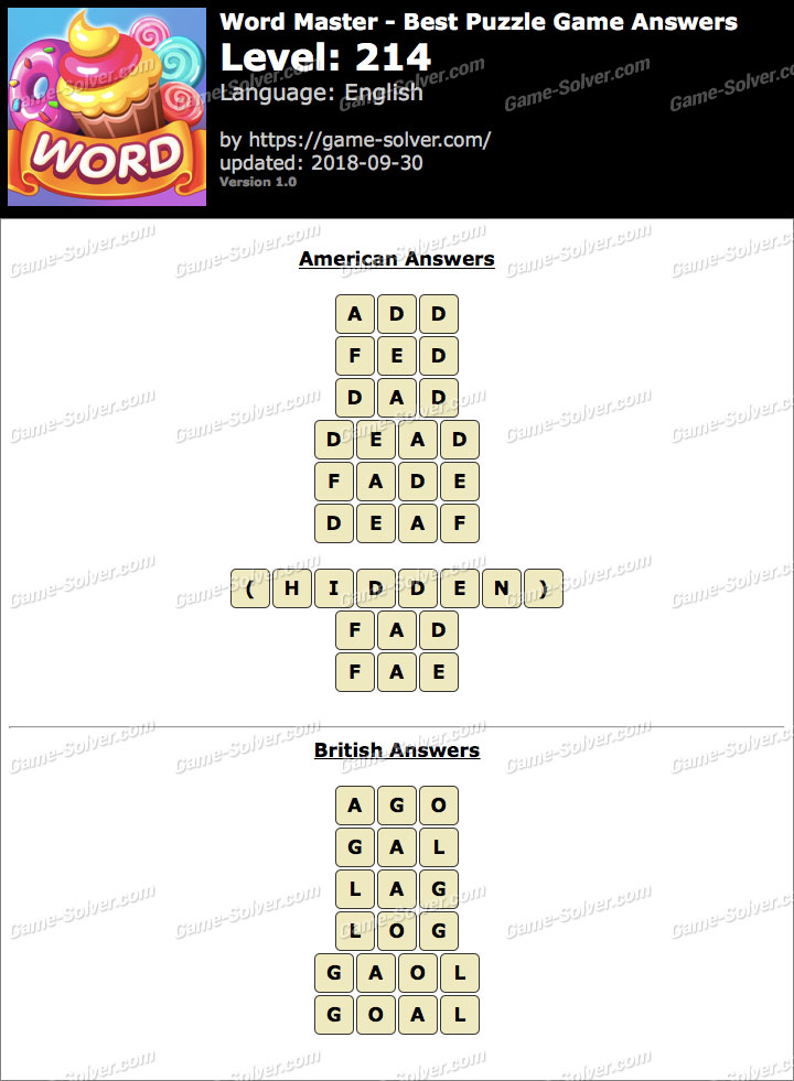 Word Master-Best Puzzle Game Level 214 Answers