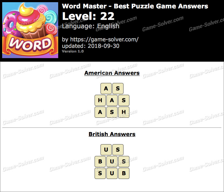 Word Master-Best Puzzle Game Level 22 Answers