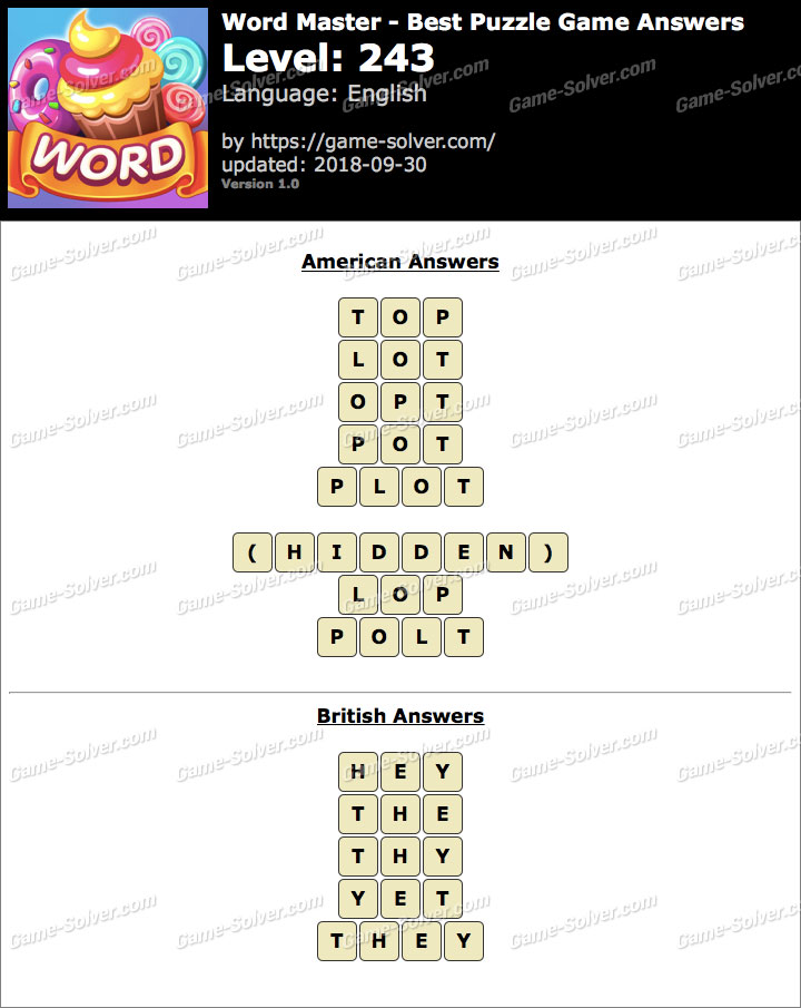Word Master-Best Puzzle Game Level 243 Answers