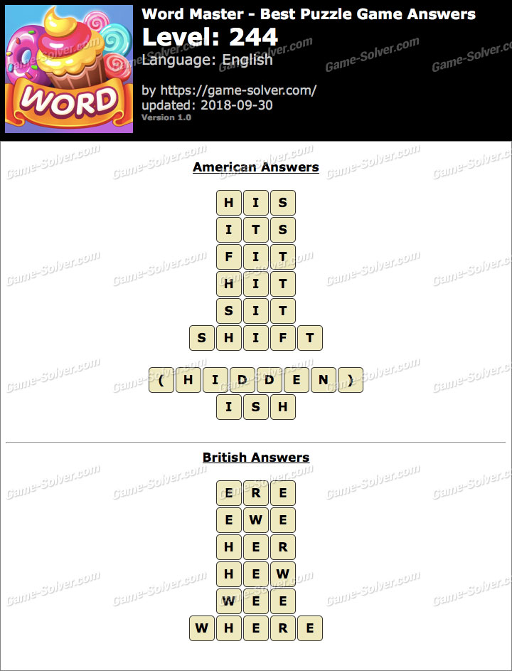 Word Master-Best Puzzle Game Level 244 Answers
