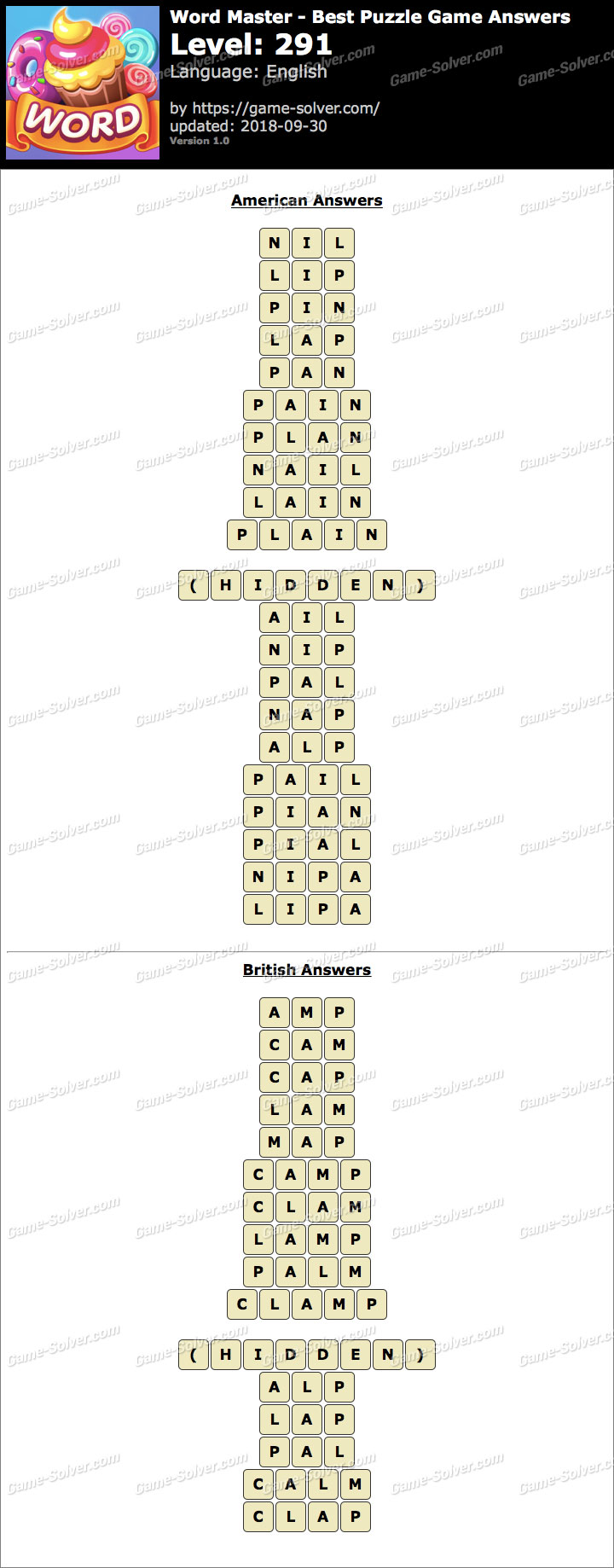 Word Master-Best Puzzle Game Level 291 Answers