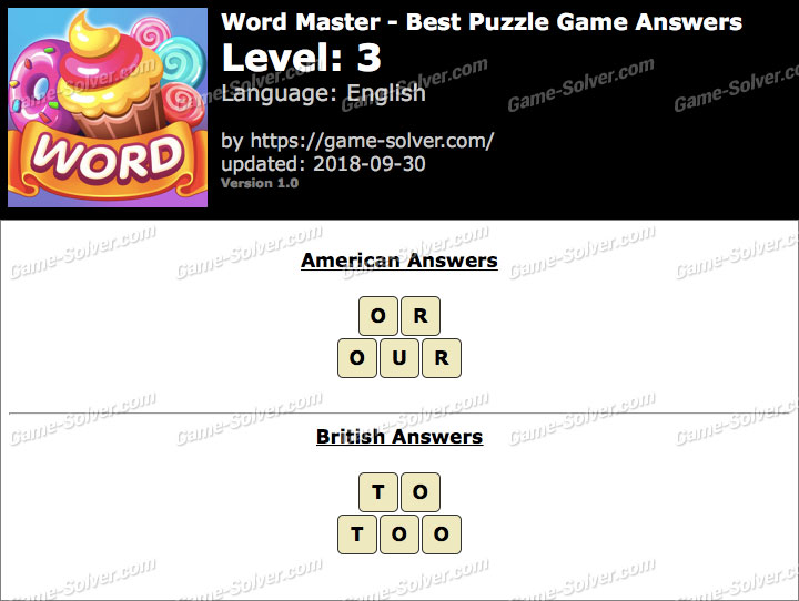 Word Master-Best Puzzle Game Level 3 Answers