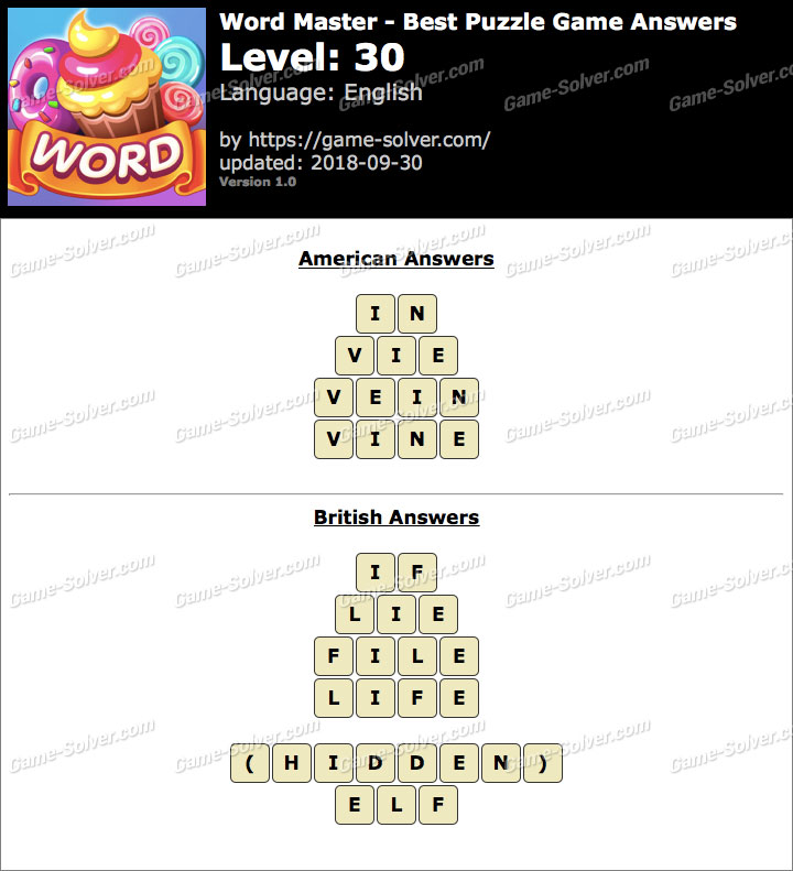 Word Master-Best Puzzle Game Level 30 Answers