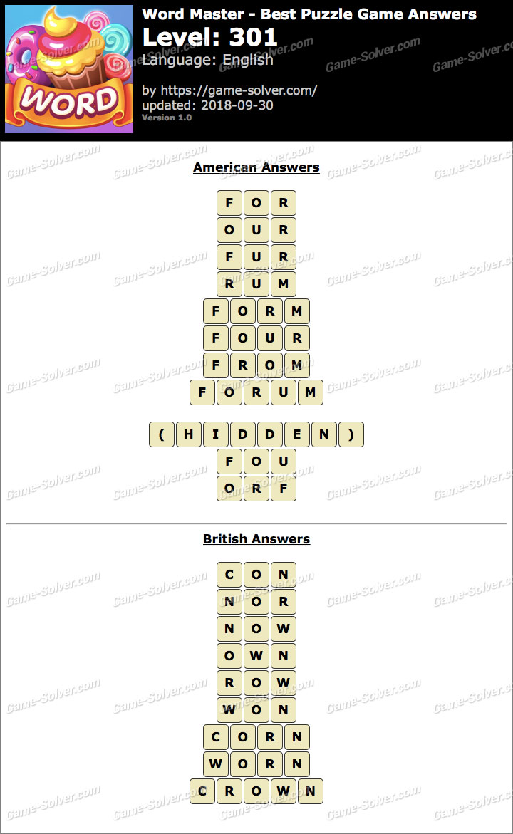 Word Master-Best Puzzle Game Level 301 Answers