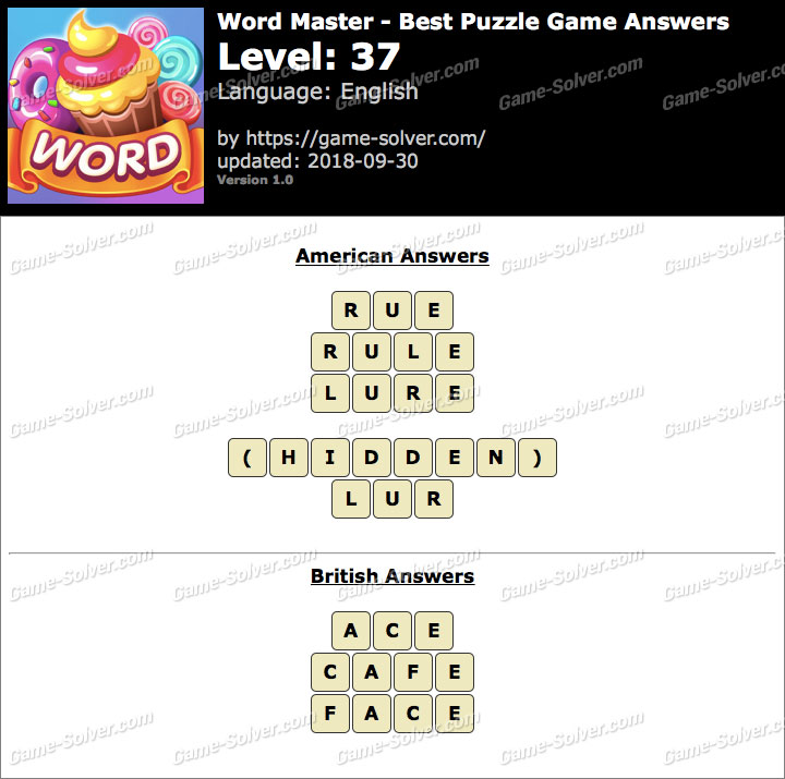 Word Master-Best Puzzle Game Level 37 Answers