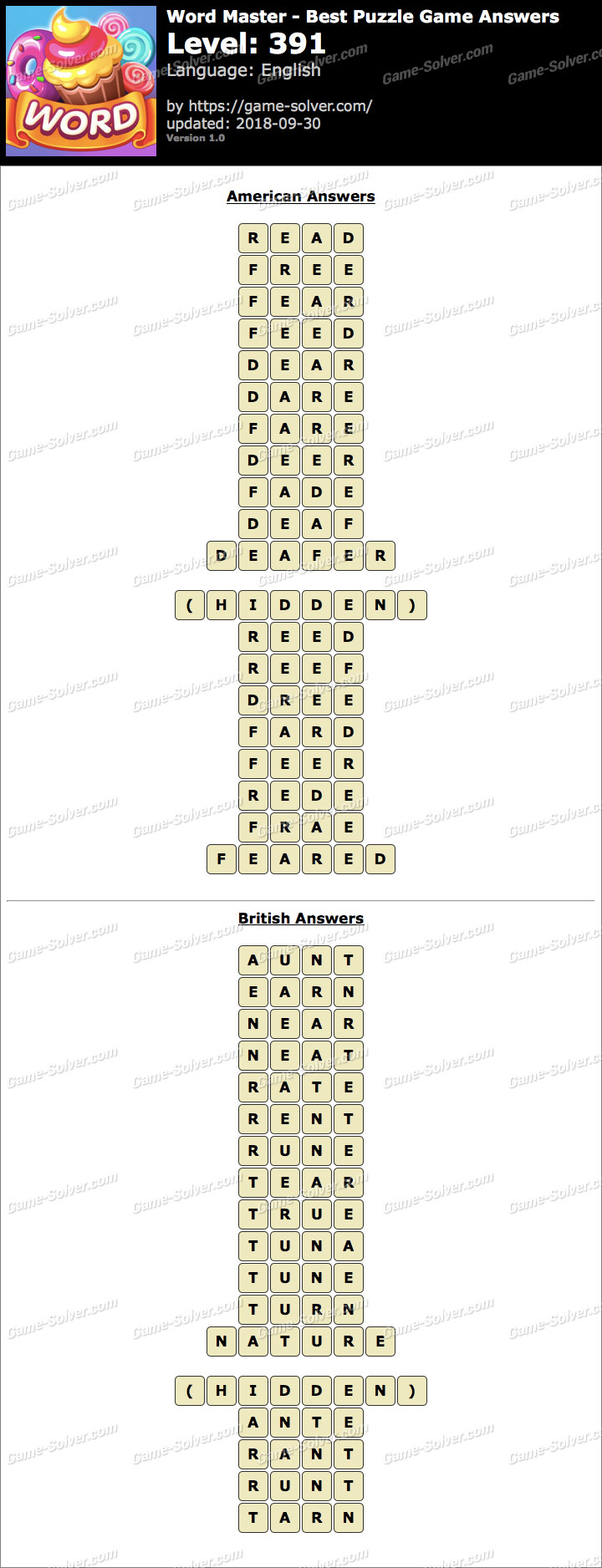 Word Master-Best Puzzle Game Level 391 Answers
