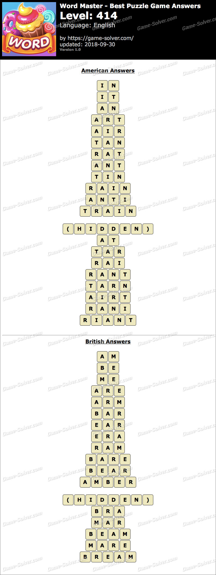 Word Master-Best Puzzle Game Level 414 Answers