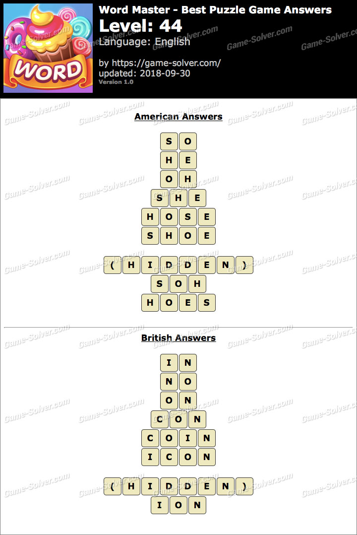 Word Master-Best Puzzle Game Level 44 Answers