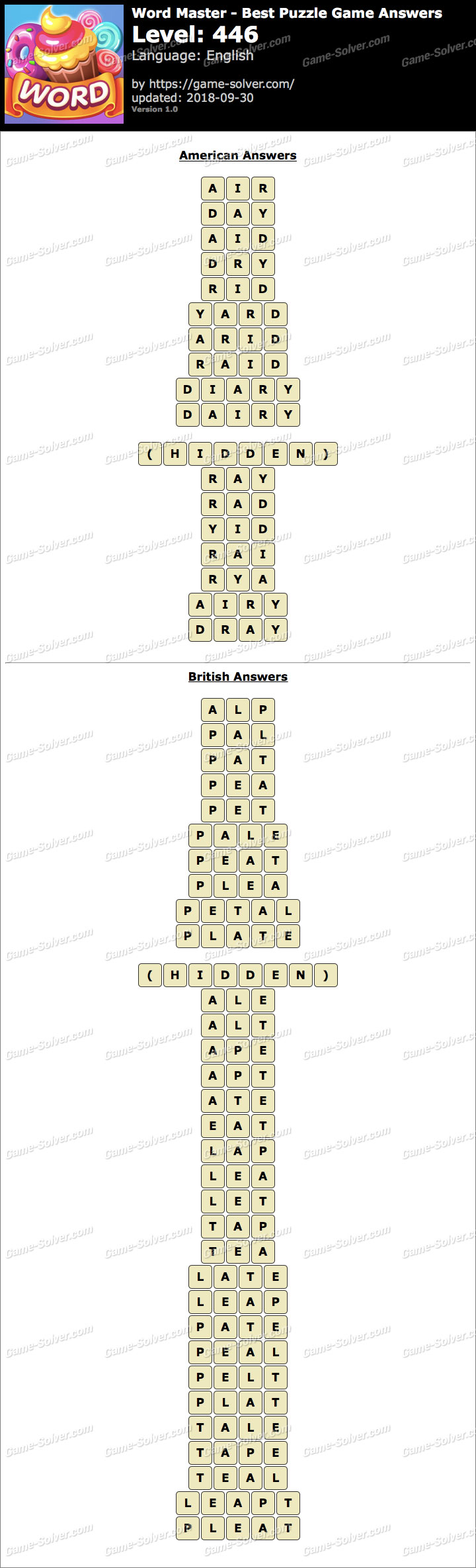 Word Master-Best Puzzle Game Level 446 Answers