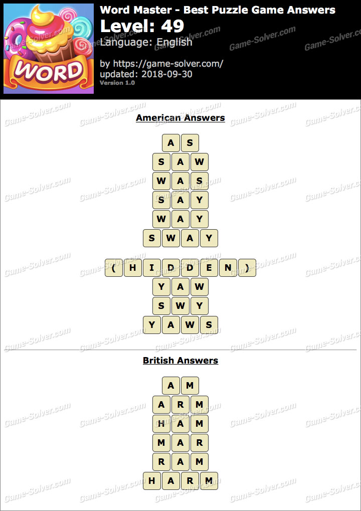 Word Master-Best Puzzle Game Level 49 Answers