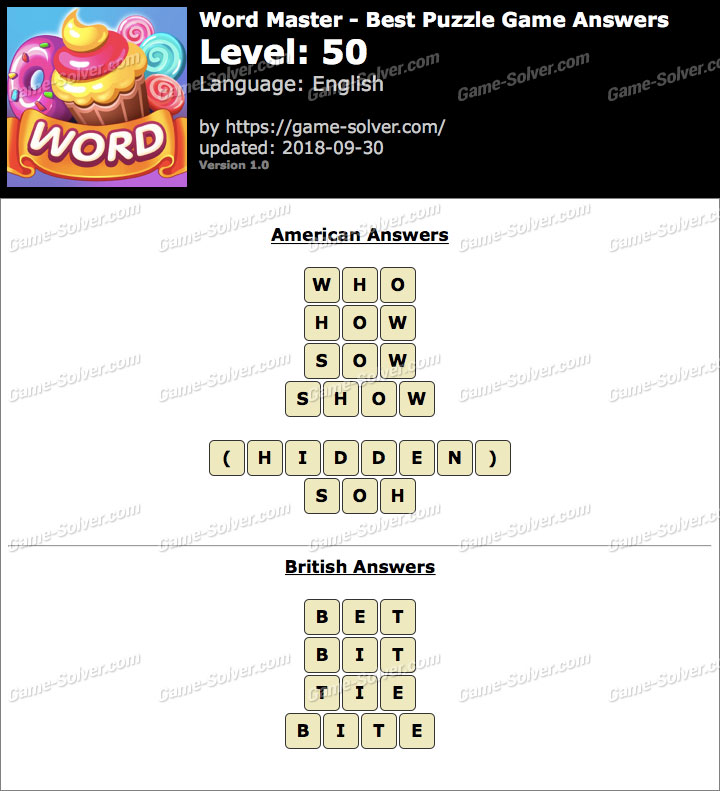 Word Master-Best Puzzle Game Level 50 Answers