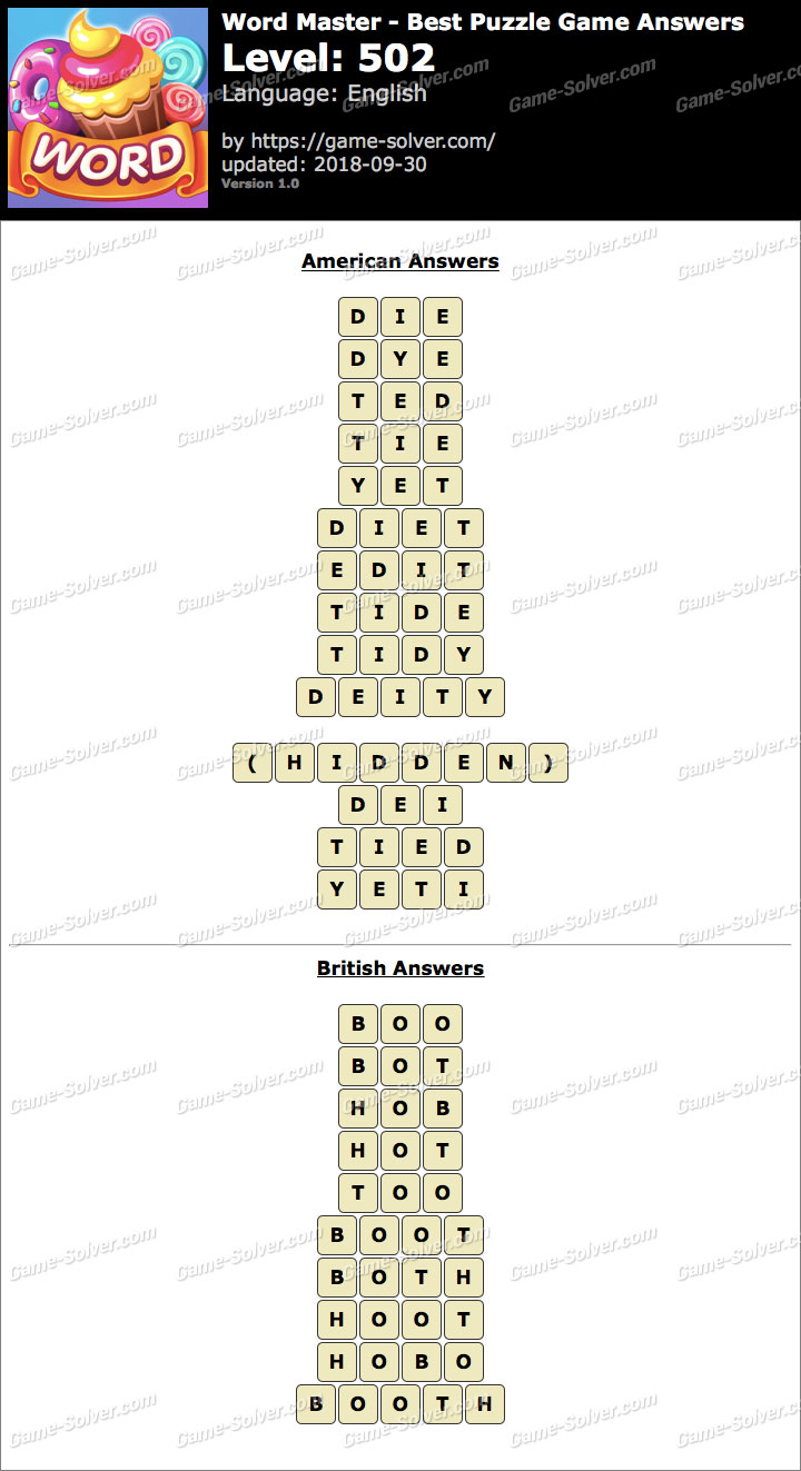 Word Master-Best Puzzle Game Level 502 Answers