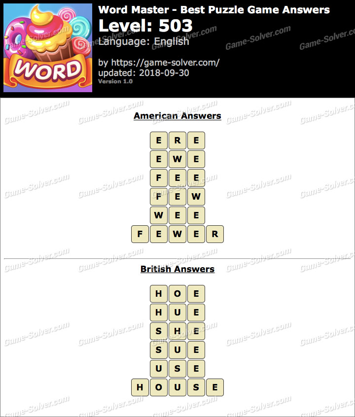 Word Master-Best Puzzle Game Level 503 Answers