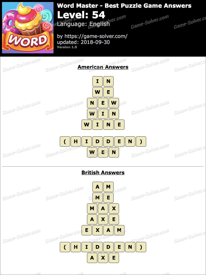 Word Master-Best Puzzle Game Level 54 Answers