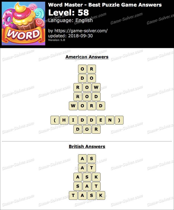 Word Master-Best Puzzle Game Level 58 Answers