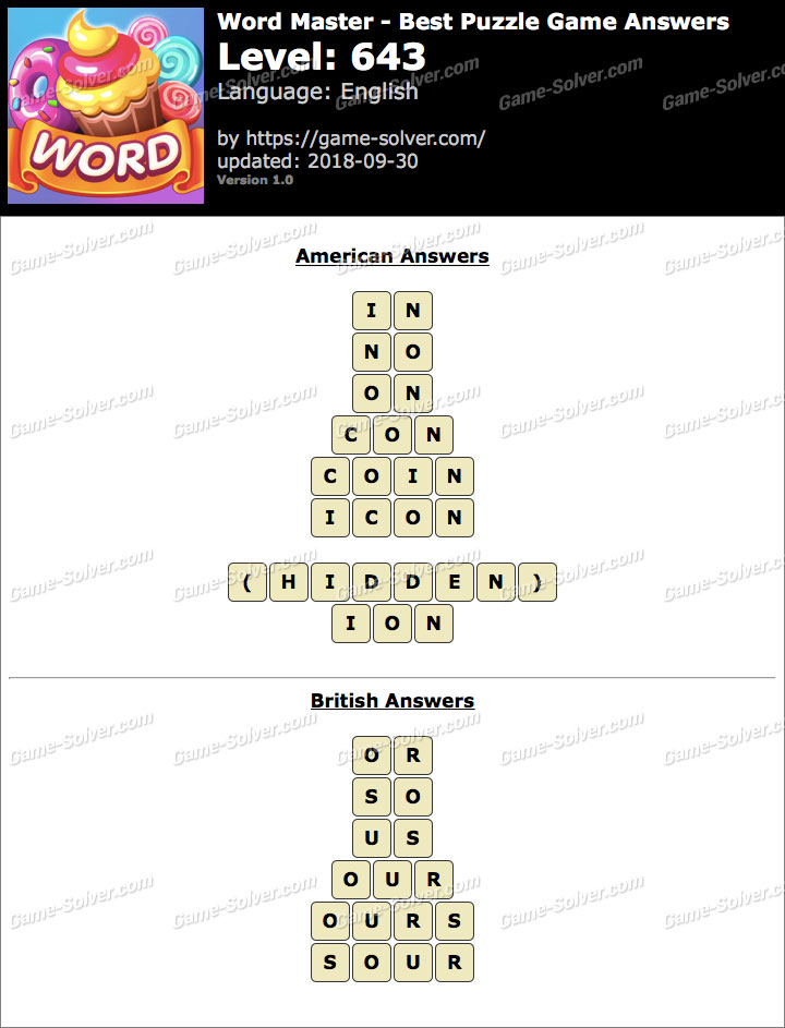 Word Master-Best Puzzle Game Level 643 Answers