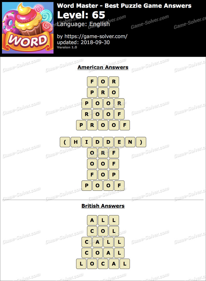 Word Master-Best Puzzle Game Level 65 Answers