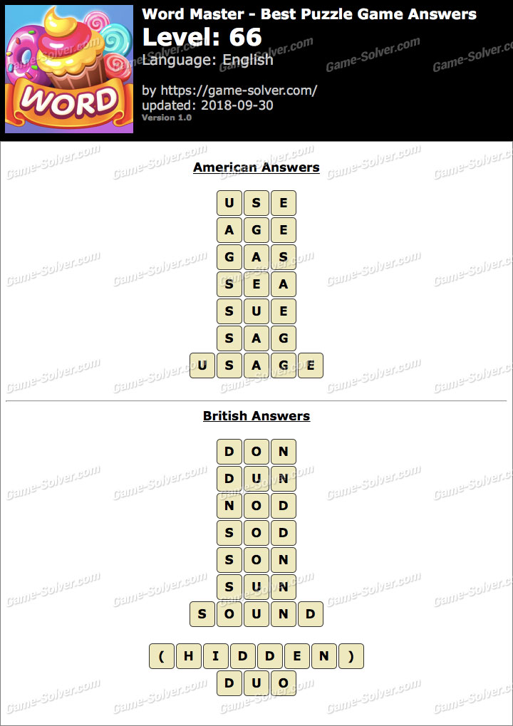 Word Master-Best Puzzle Game Level 66 Answers