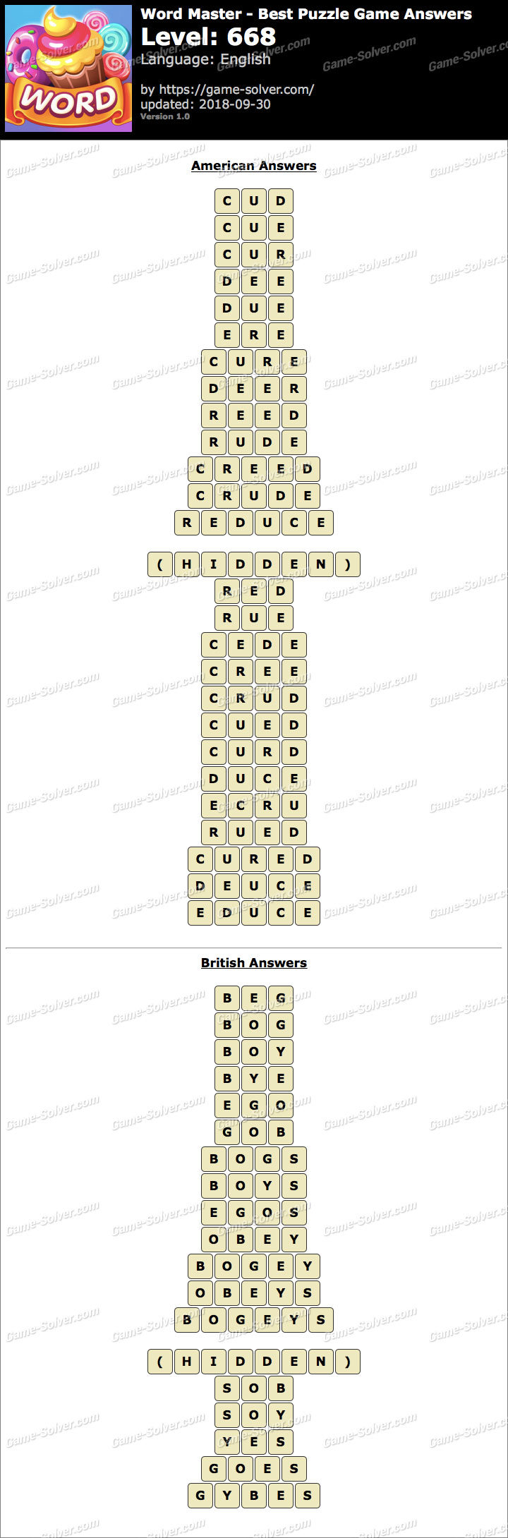 Word Master-Best Puzzle Game Level 668 Answers