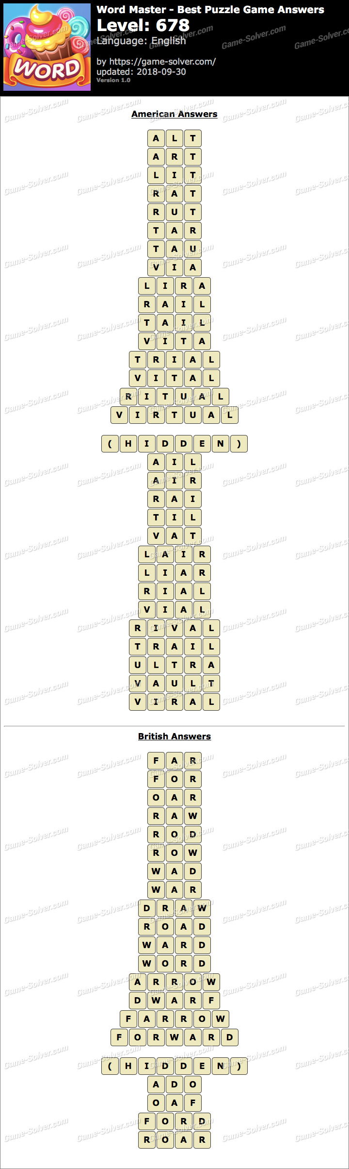 Word Master-Best Puzzle Game Level 678 Answers