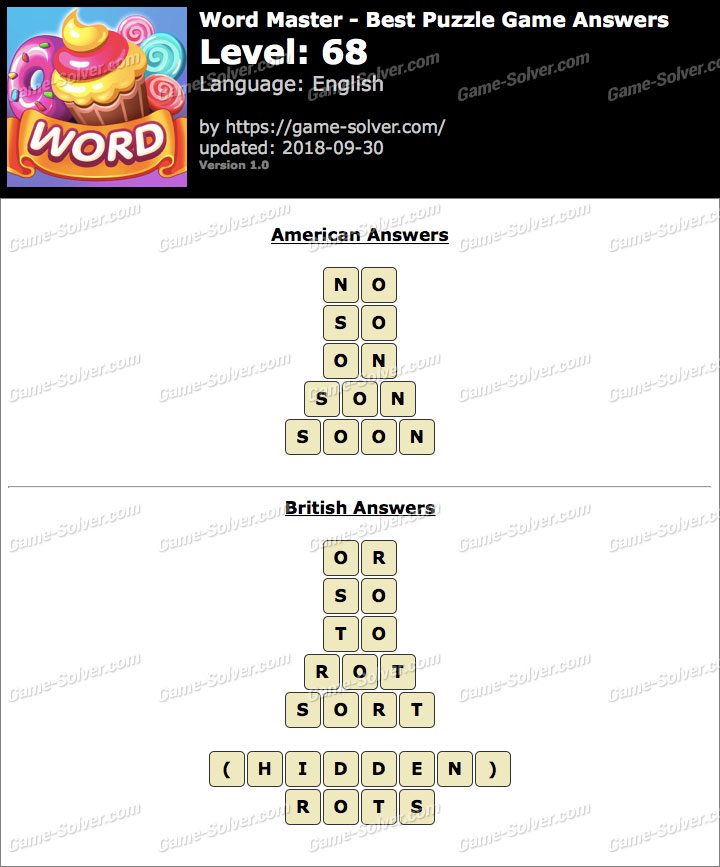 Word Master-Best Puzzle Game Level 68 Answers