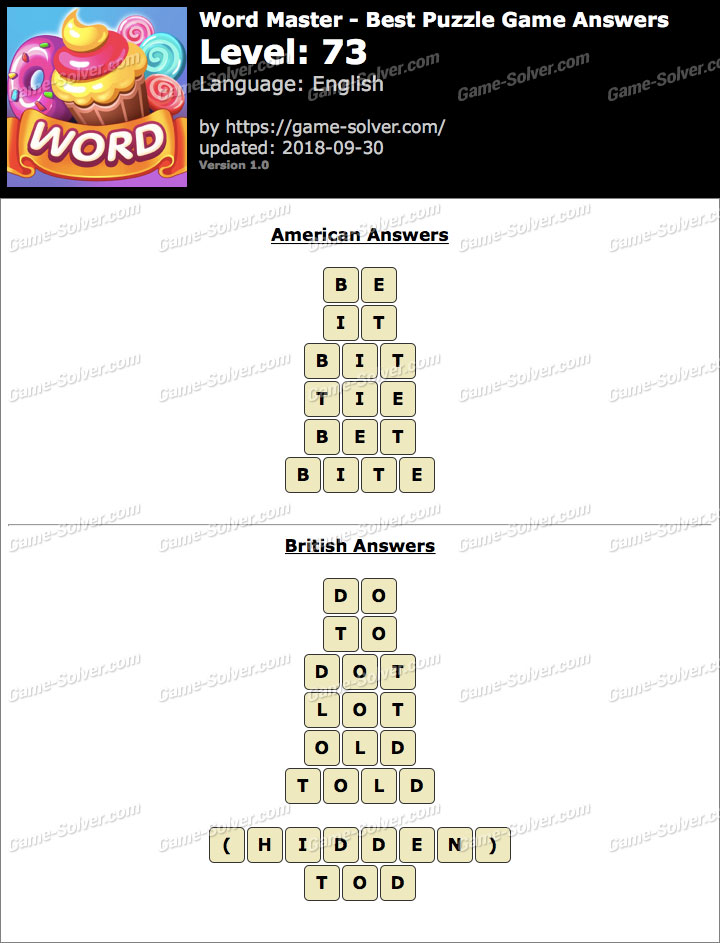 Word Master-Best Puzzle Game Level 73 Answers