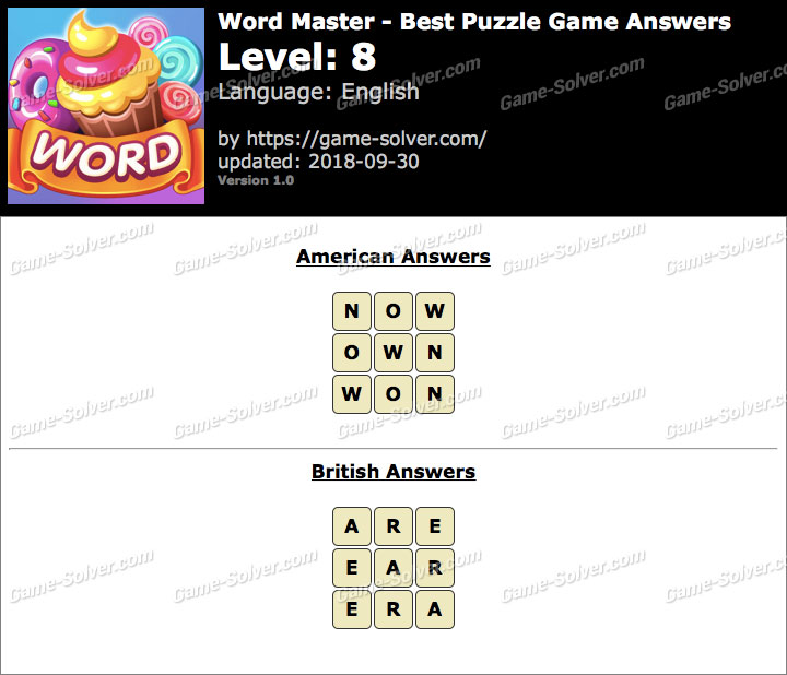 Word Master-Best Puzzle Game Level 8 Answers