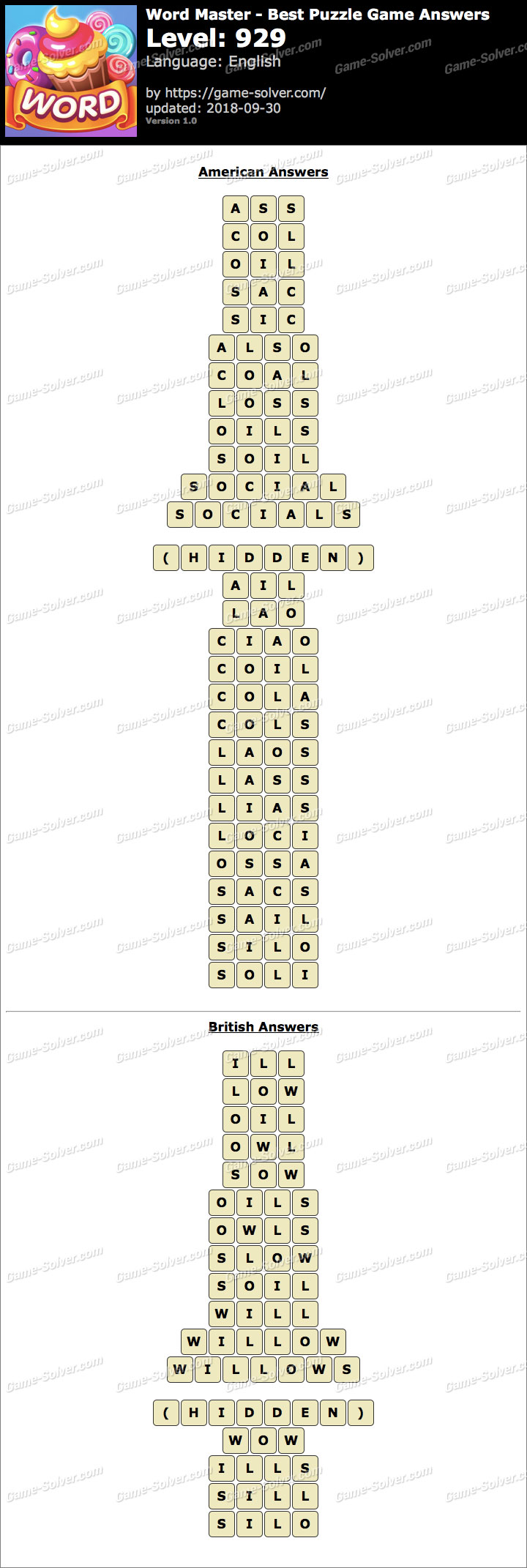 Word Master-Best Puzzle Game Level 929 Answers