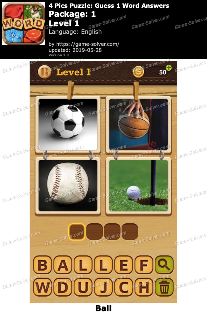 4 Pics Puzzle Guess 1 Word Package 1 Level 1 Answers
