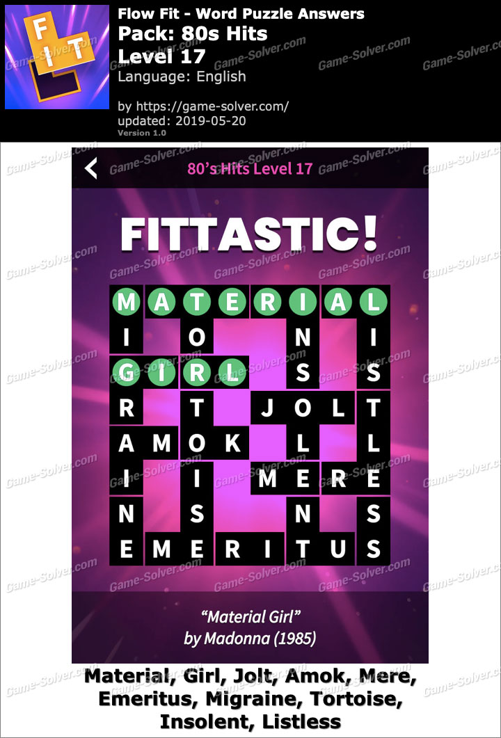 Flow Fit 80s Hits-Level 17 Answers