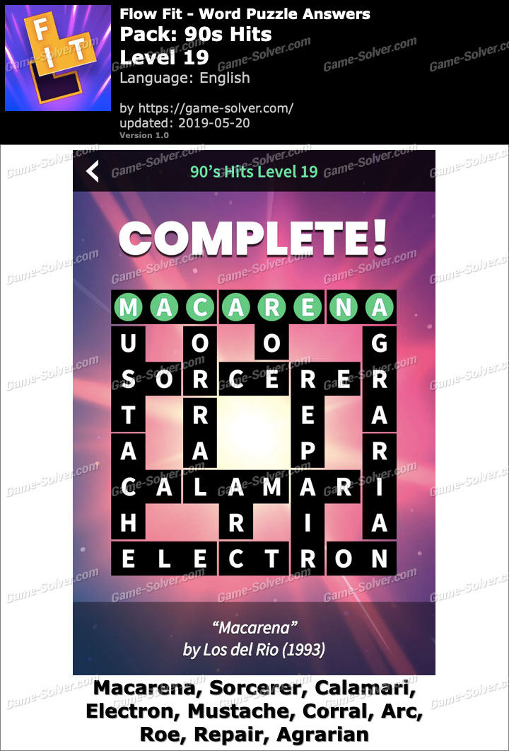 Flow Fit 90s Hits-Level 19 Answers