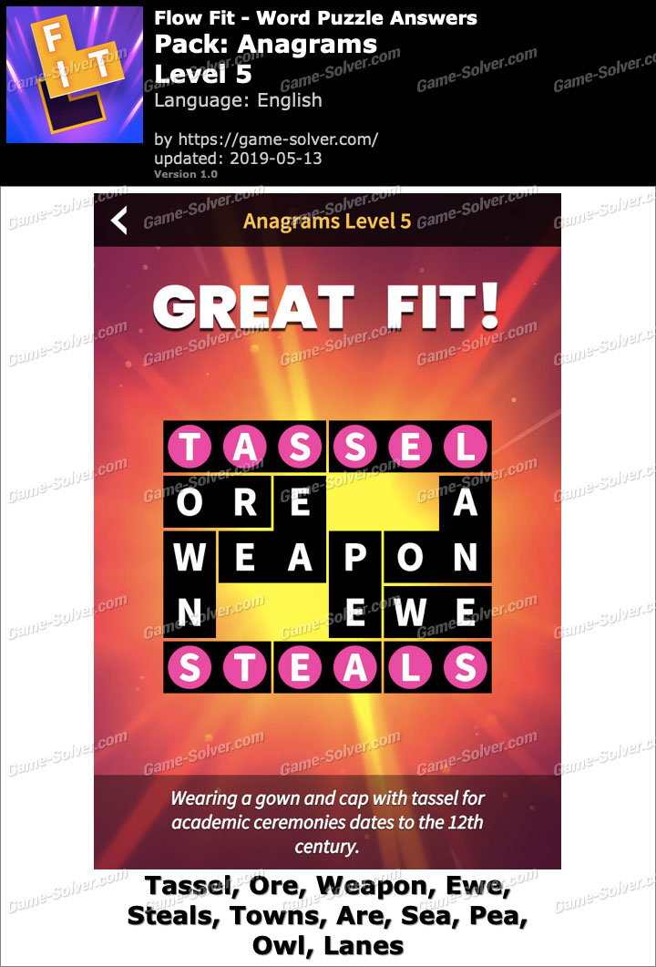 Flow Fit Anagrams-Level 5 Answers