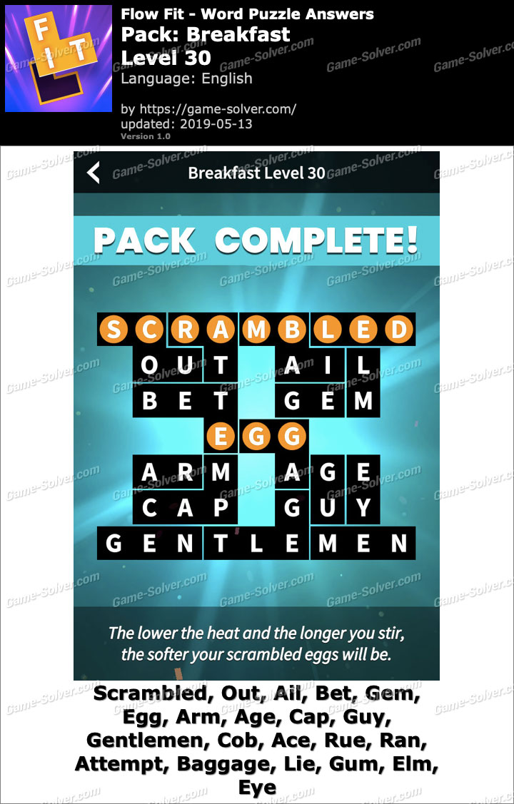 Flow Fit Breakfast-Level 30 Answers