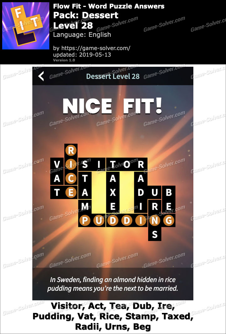 Flow Fit Dessert-Level 28 Answers