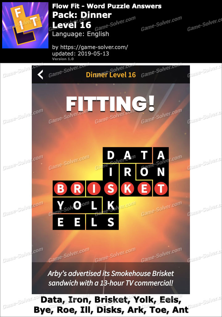 Flow Fit Dinner-Level 16 Answers