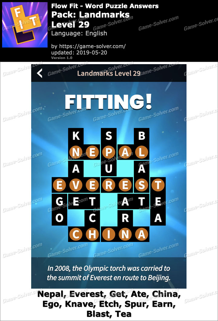 Flow Fit Landmarks-Level 29 Answers