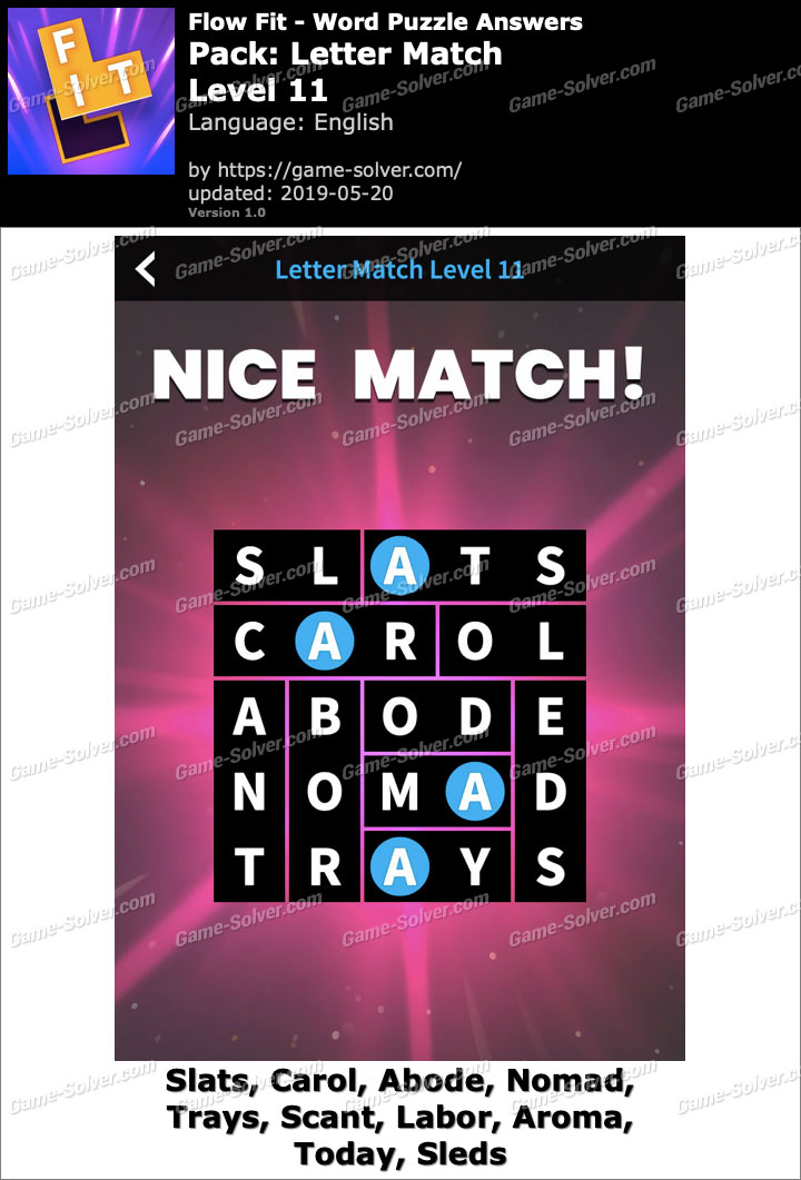 Flow Fit Letter Match-Level 11 Answers