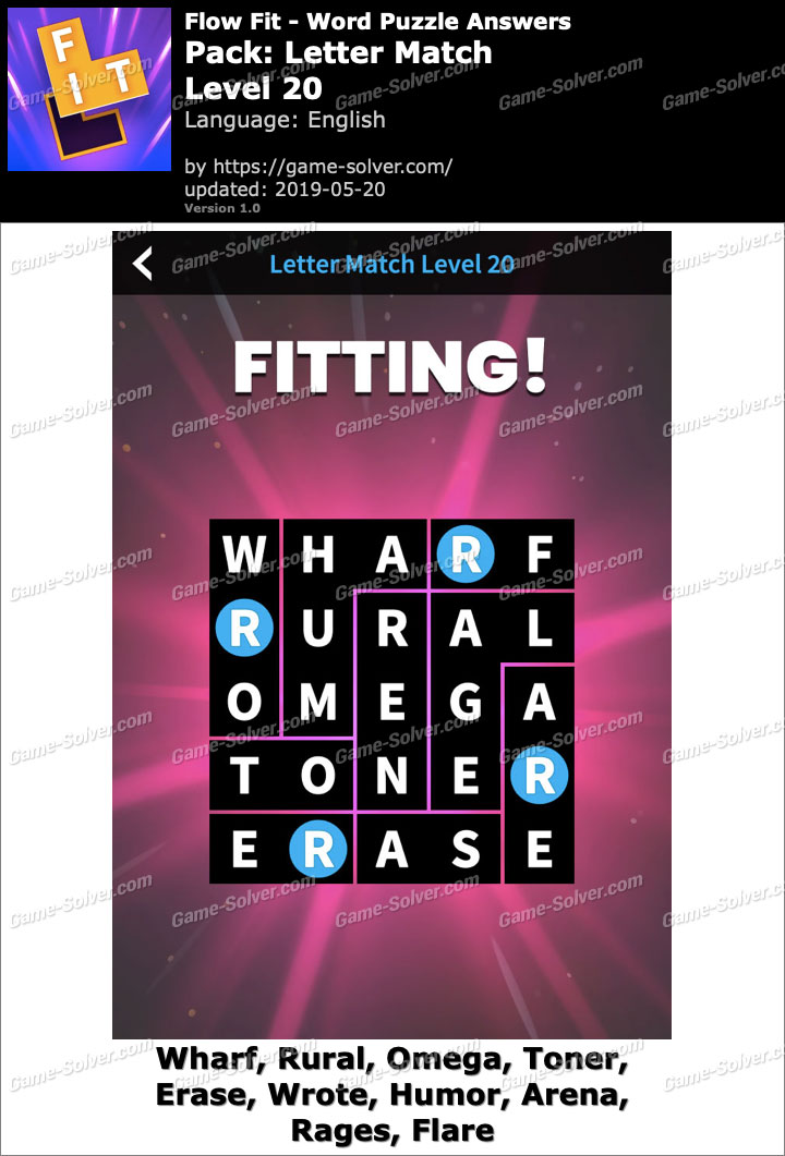 Flow Fit Letter Match-Level 20 Answers