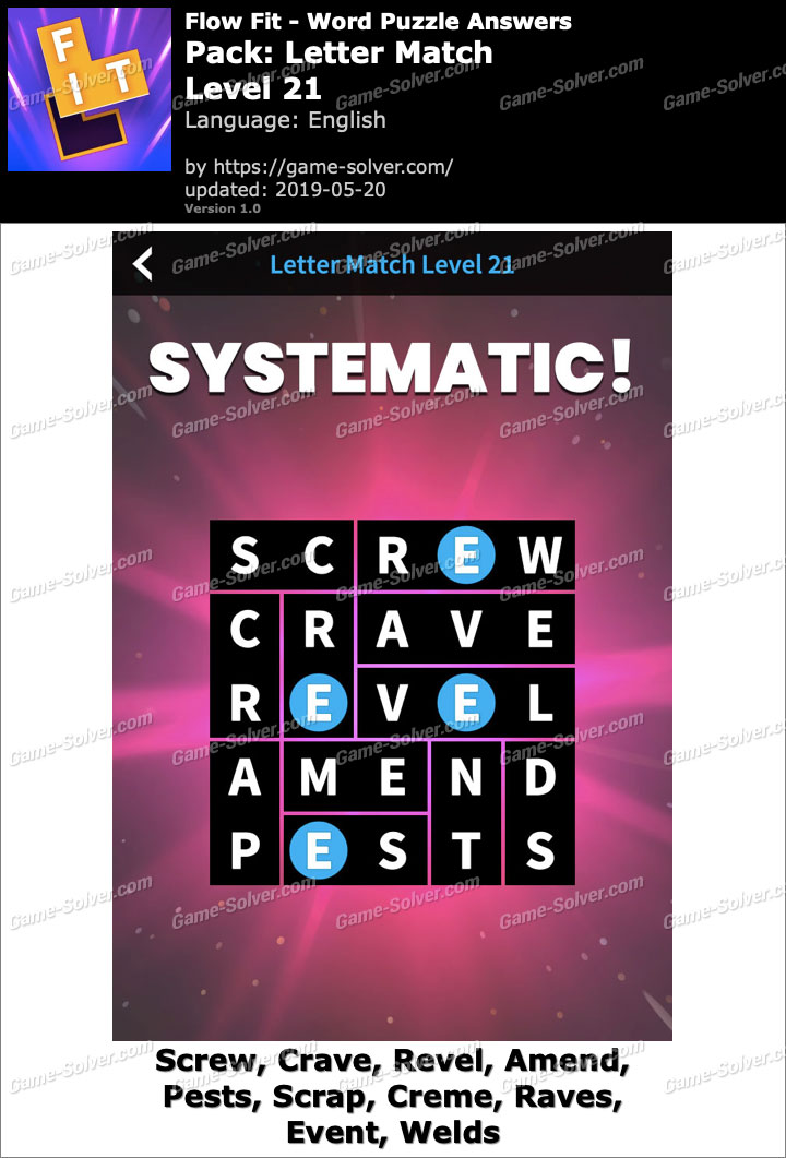 Flow Fit Letter Match-Level 21 Answers